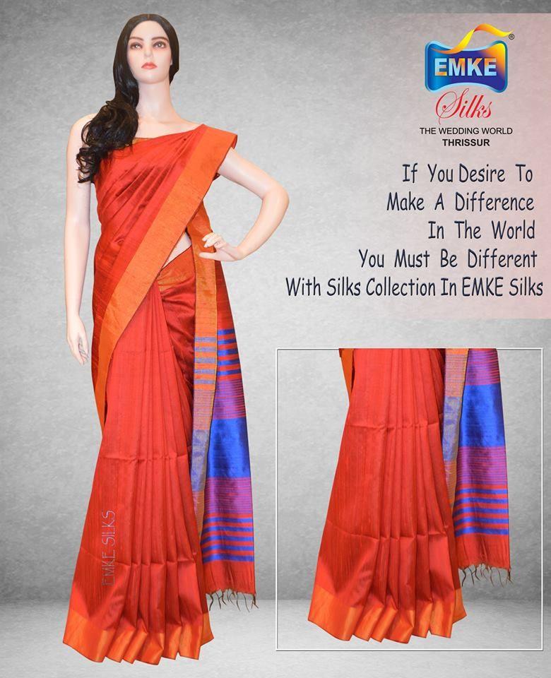 1d48489fff Silk Saree Material : Jute Silk Body Color : Red Border : Zari Pallu :  Royal Blue ,Blue Violet Design : Plain
