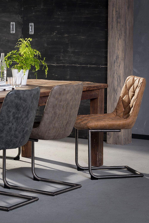 Chaise En Cuir Recycle Brun Havane Style Industriel Pied Traineau Lot De 2 Chaise Cuir Chaise De Salle A Manger Salle A Manger Industrielle