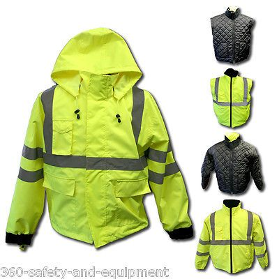 Hi Vis 5 in 1 Jacket System Class 3 ANSI Fall Winter Spring Jacket Sizes s