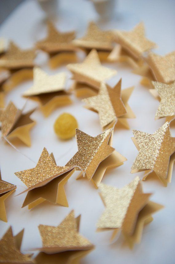 Star garland, Glitter garland, Celestial decor, Unique gifts, Glitter stars