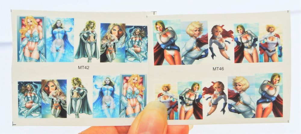 You will get a set of 2 sheets Super Hero Girls, Power Girl, Enchantress Nail Decal, Nail Design. Water Transfer nail art are lighter, thinner, and easier to wear than sticker nail wraps. It conforms to your nails very smoothly and can last long if you apply gel finish and cure it under uv lamp. | eBay!