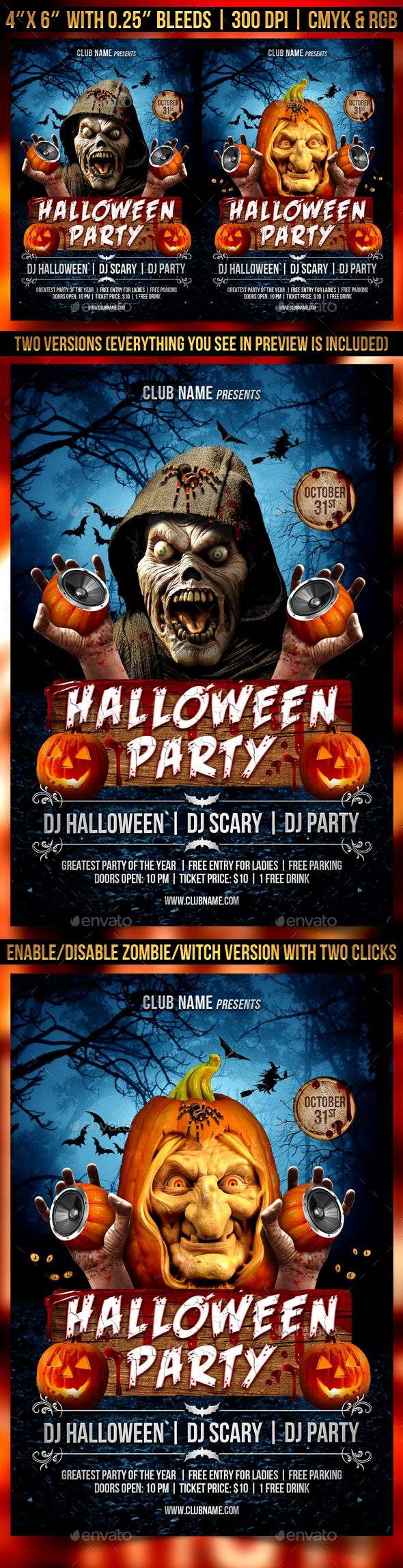 Halloween Party Flyer Template  Halloween Party Flyer Flyer