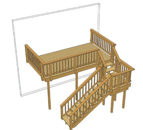 Best 14 X 8 Deck W Stair Landing And Architectural Spindles At Menards Stair Landing Deck Stair 400 x 300