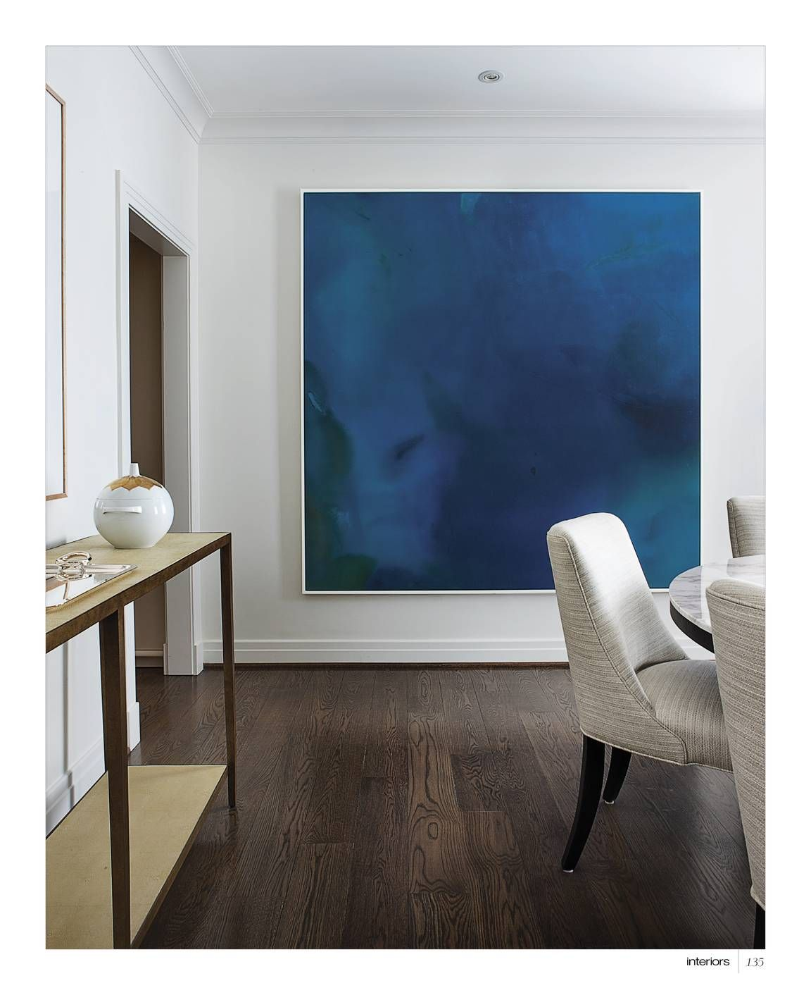Gorgeous dark hardwood floors contemporary dining room peaceful