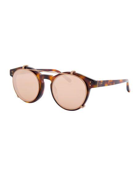 5029a3d13a4 LINDA FARROW Round Acetate Sunglasses W  Clip-On Lenses
