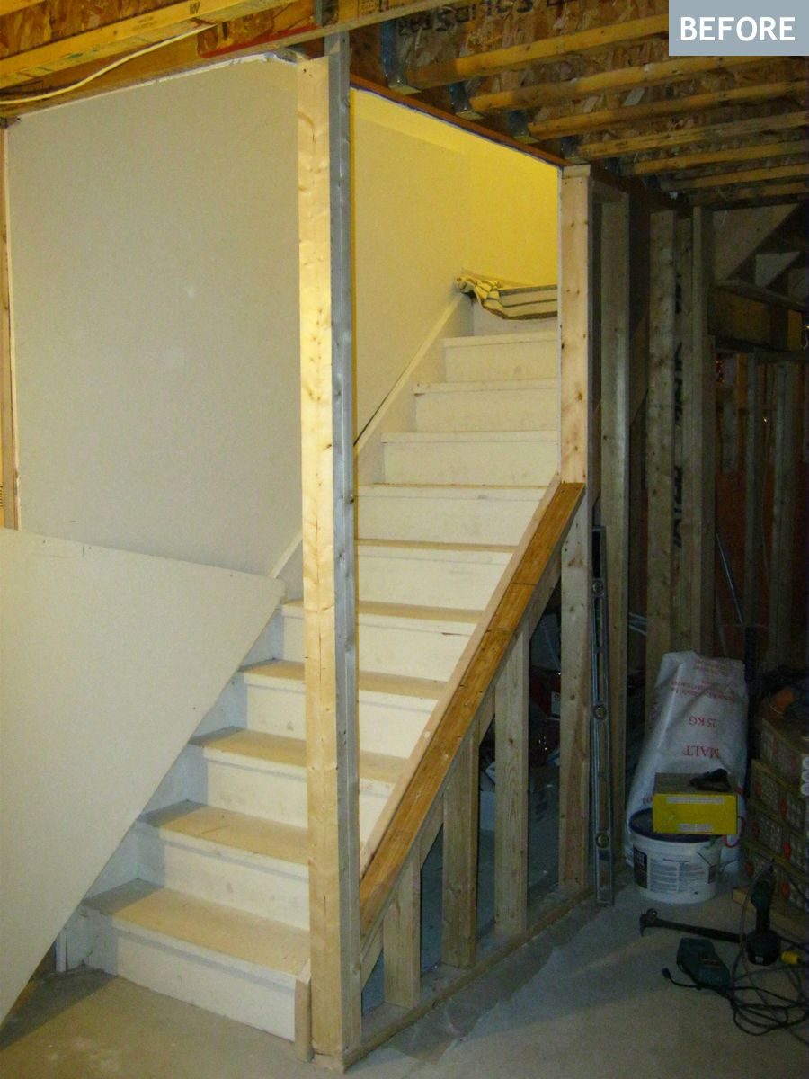 Am dolce vita basement stairs diy to open them up for Diy kitchen remodel steps