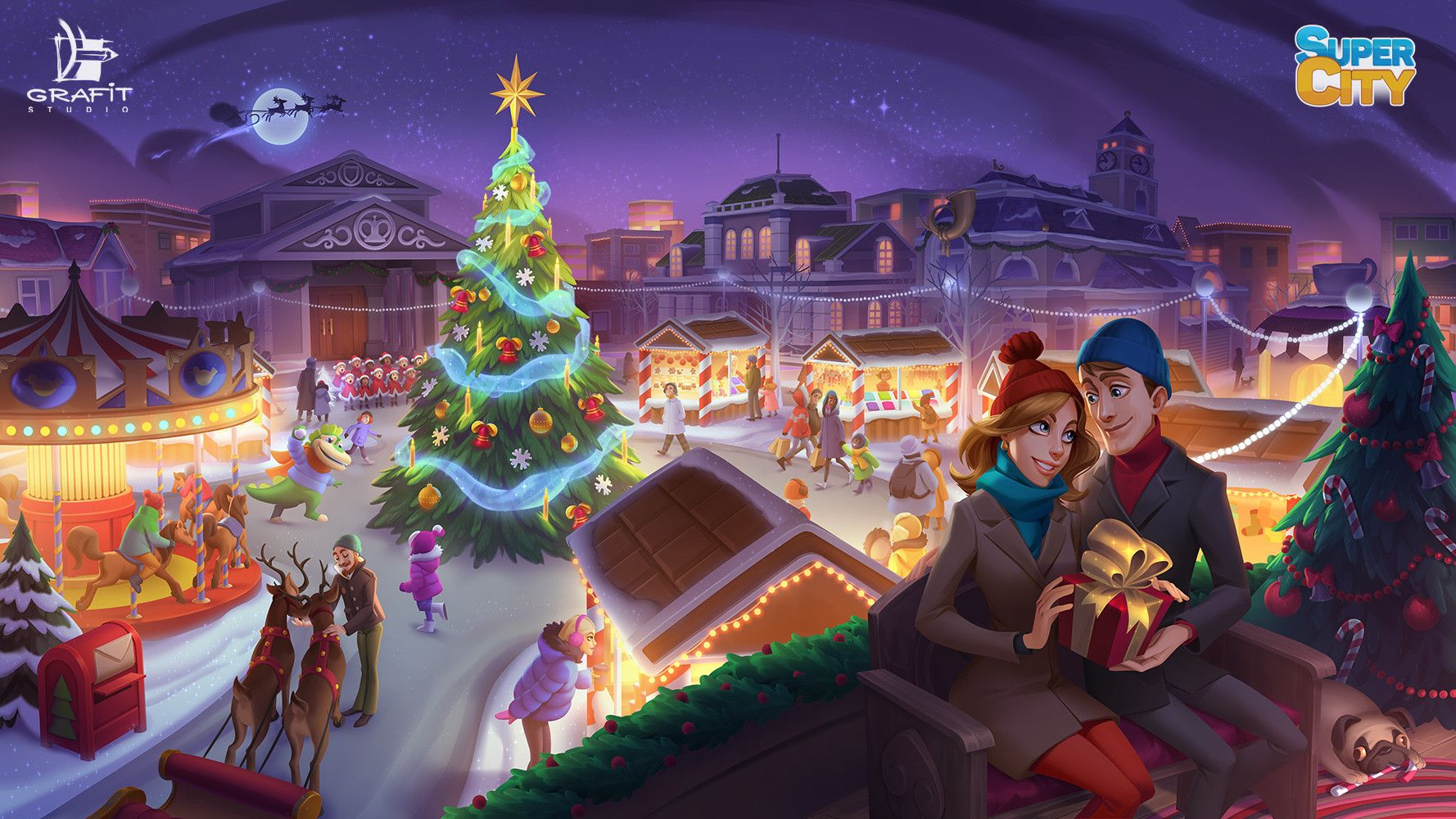 Get A Magical Christmas Tree Supercity 2020 ArtStation   SuperCity Posters, Grafit Studio   Casual art