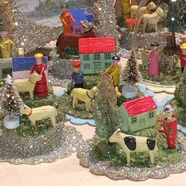 These tiniest of antique German carved houses, animals and people will be appearing at my shop this Fri.-Sat. - Sun. Under tiny glass bells! #putzhouse #putzvillage #putz