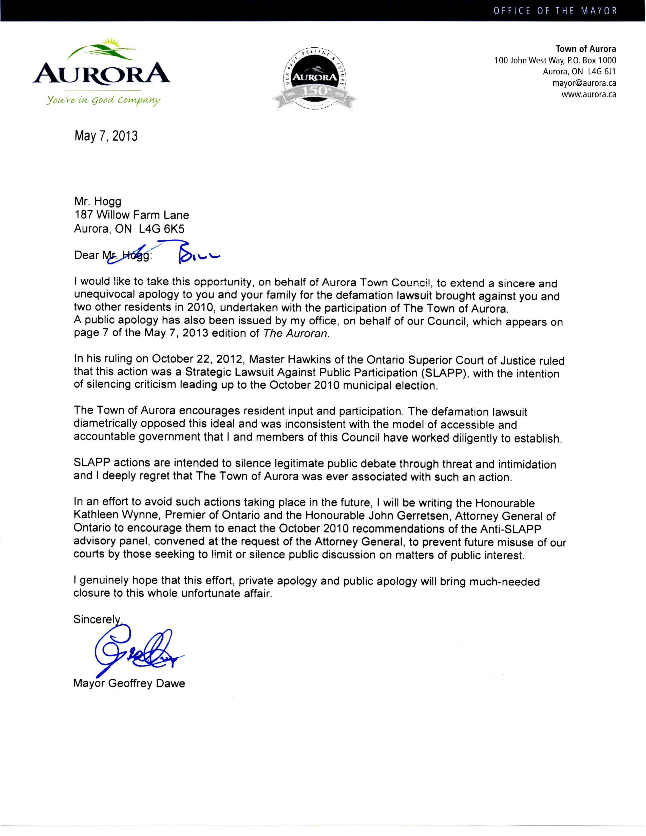 Aurora Citizen Town Apology Letterletter Of Apology Business