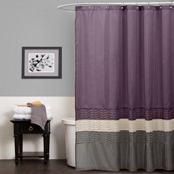 Lush Decor Mia Fabric Shower Curtain Gray Shower Curtains White