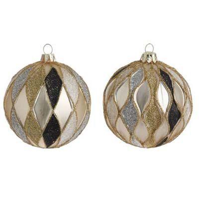 RAZ Gold Silver Black Ball Christmas Ornament Set of 2 Set