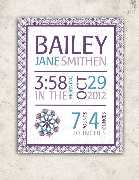 Purple Baby GIrl Nursery Wall Art - Pottery Barn Kids Brooklyn ...