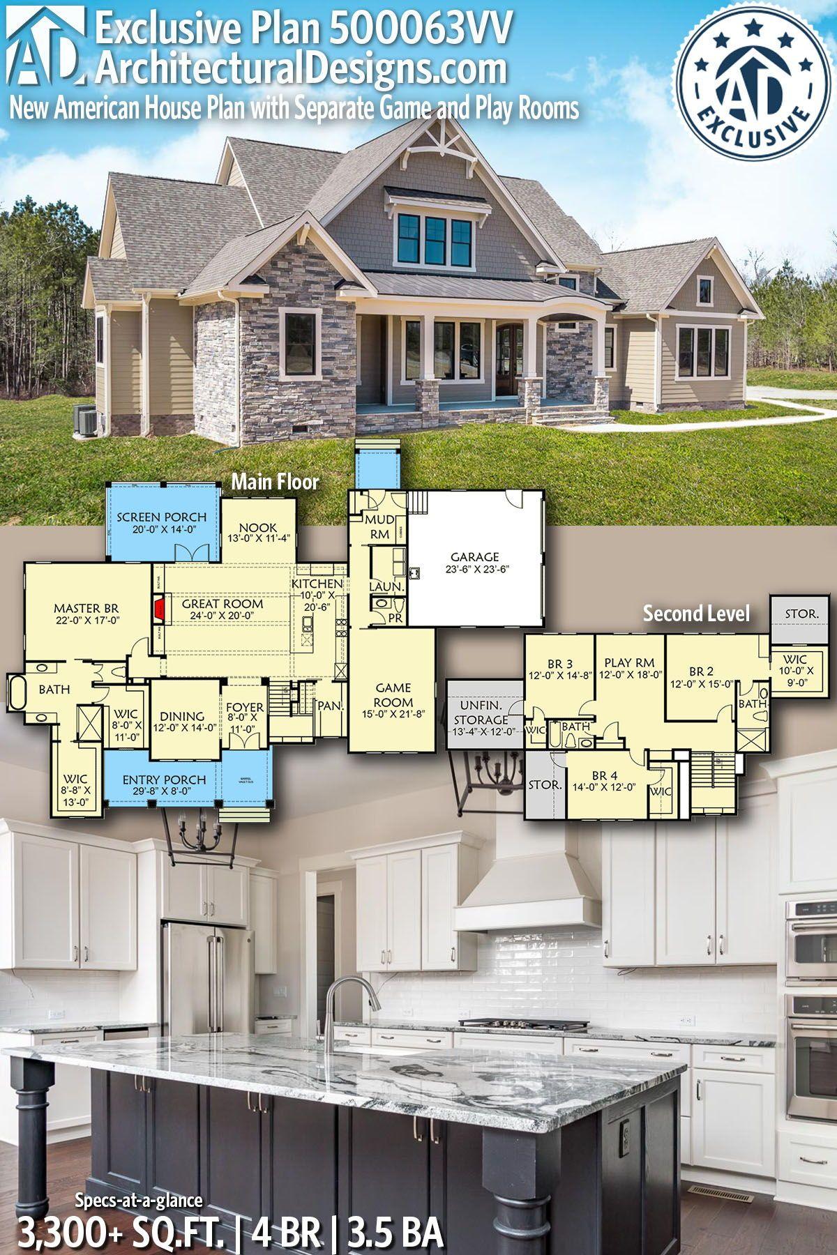 Plan 500063VV: New American House Plan mit separaten Spiel- und Spielräumen