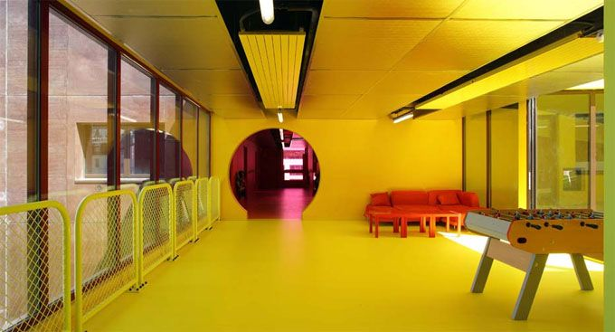 Sports And Recreation Center In Saint Cloud Paris Color Yellow Interior