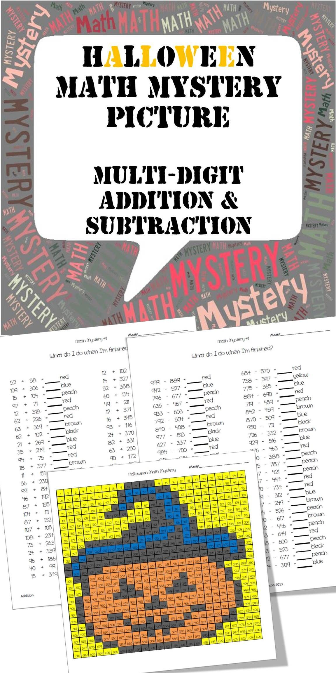 Halloween Mystery Picture Multi Digit Addition And