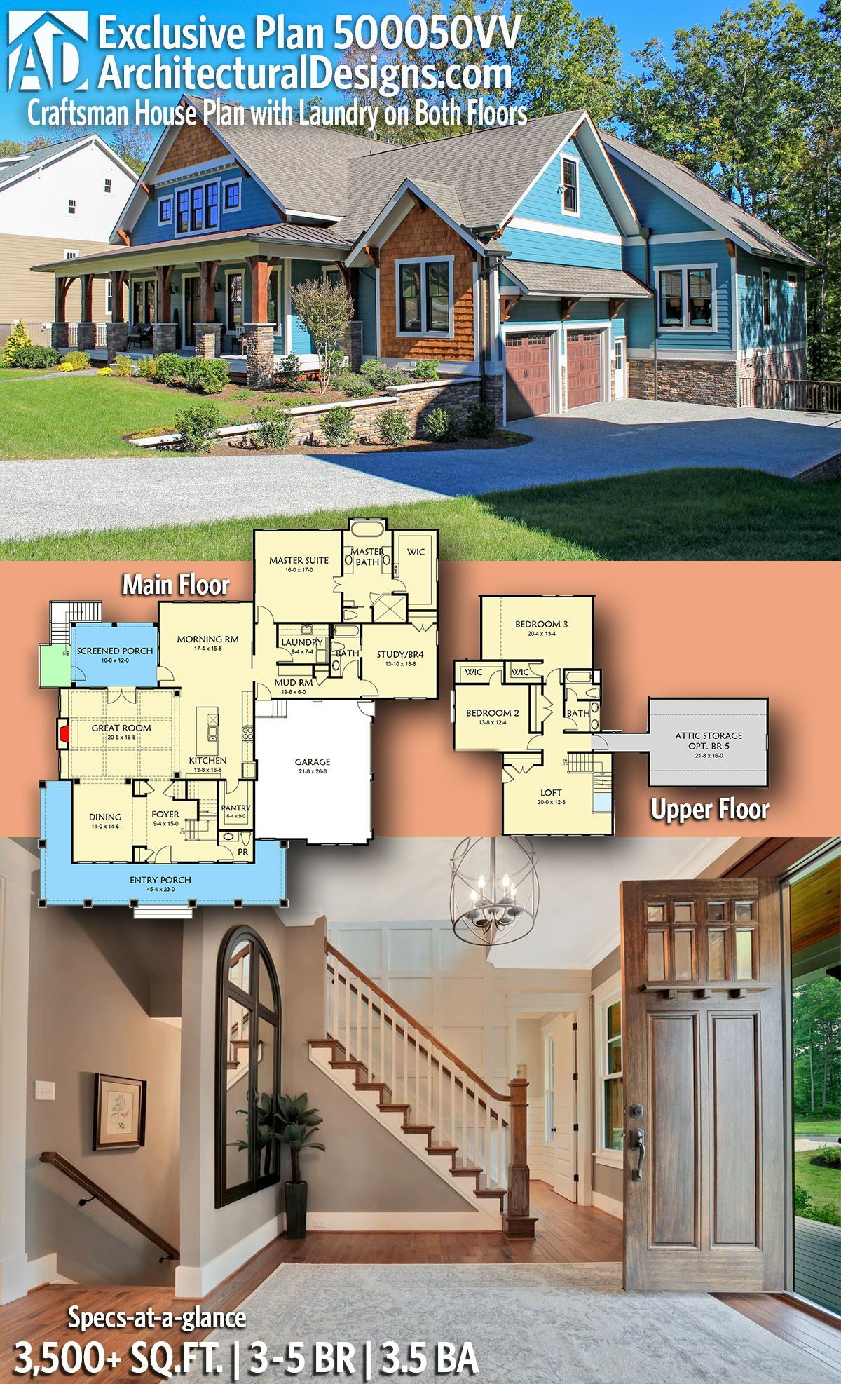 Introducing Architectural Designs Exclusive Country Craftsman Home Plan 500050vv With 3 5 Bedrooms 3 Full B Craftsman House Plans Craftsman House House Plans