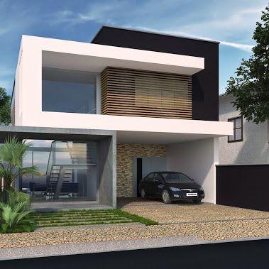 Fachada contempor nea projeto henrique zanluchi for Casa minimalista tres pisos