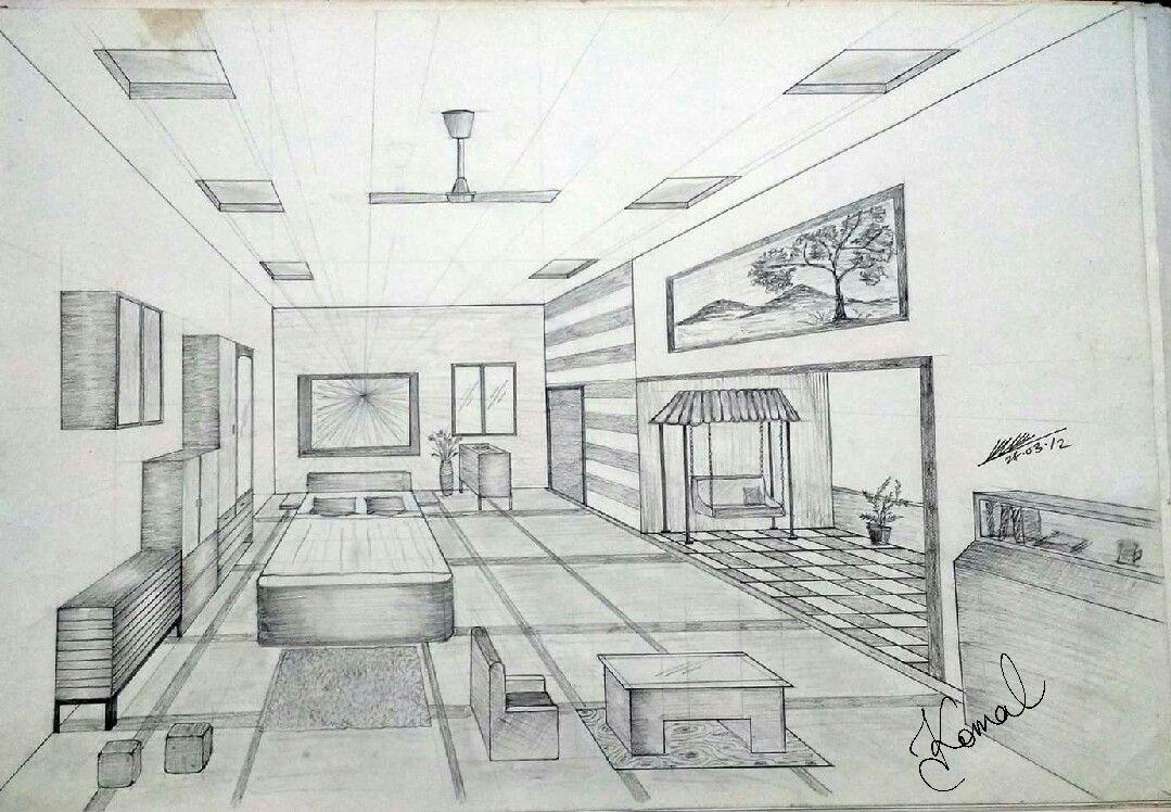 One Point Perspective Gambar Arsitektur Desain Gambar