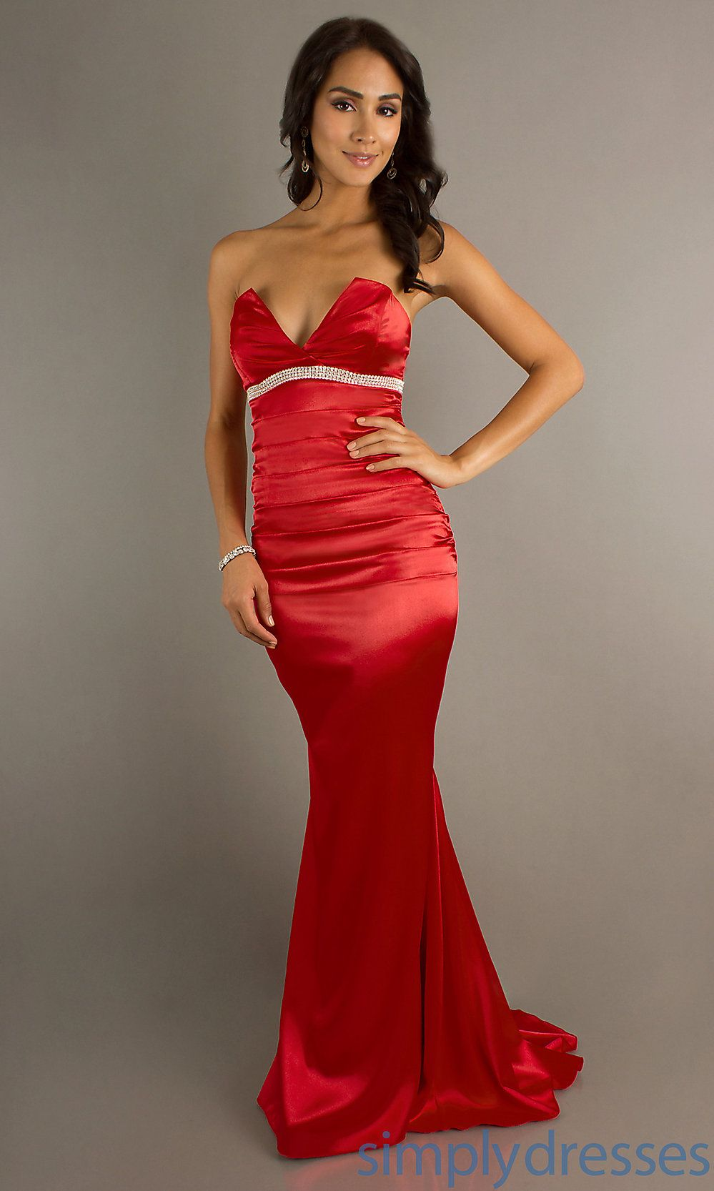 RED GOWENS | Atria Red Strapless Gown, Celebrity Prom Dresses ...
