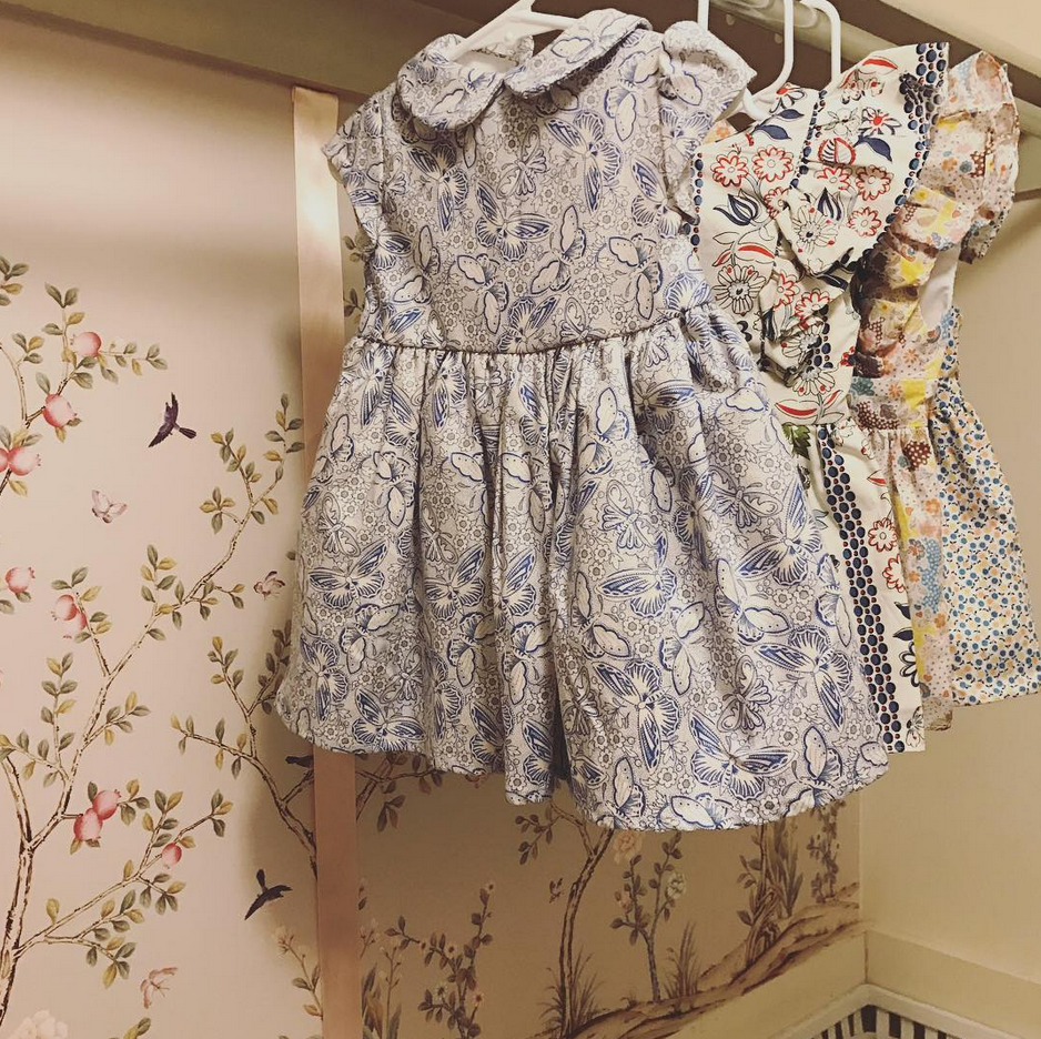 Chinoiserie can fit the smallest of spaces.  Here is close up of Pomegranate Sand in baby girl's nursery closet. Thanks for sharing @belclairehouse
