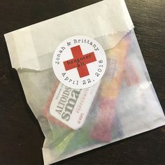 Diy Hangover Kit First Aid For Wedding Guests 20 Gline Favor Bags With Custom Red Cross Stickers