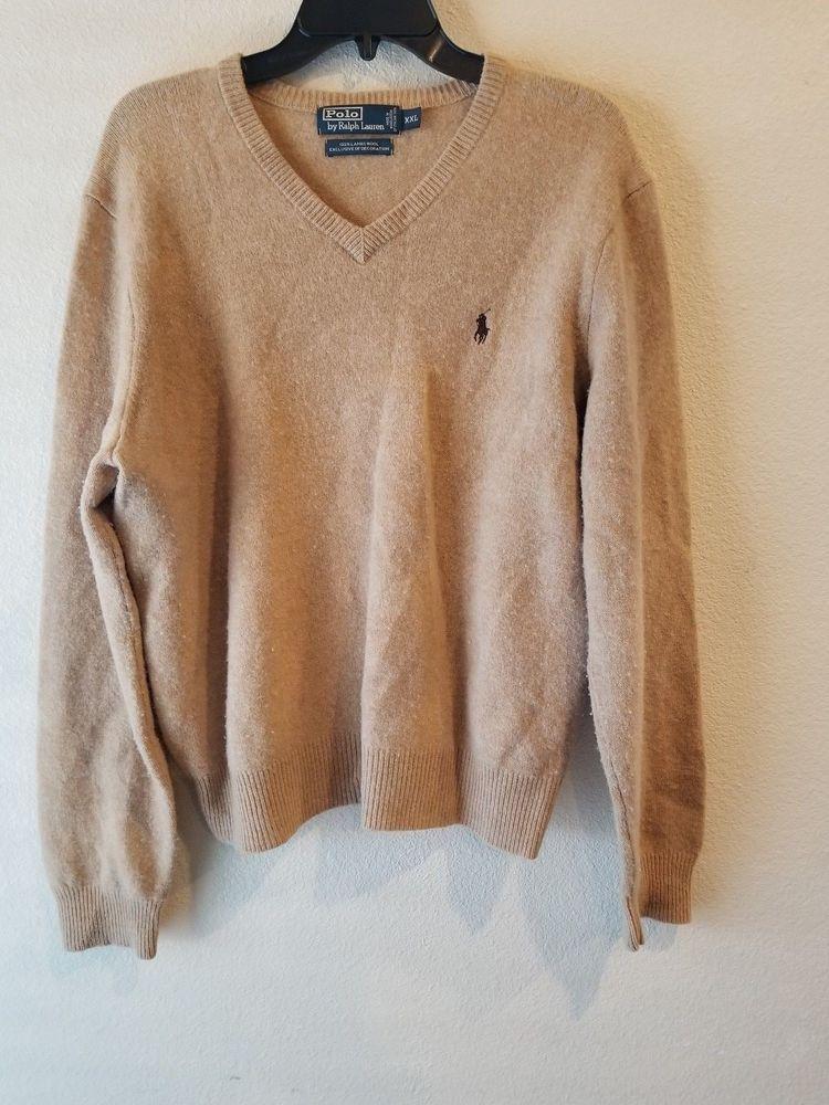 7c3138d28 Polo by Ralph Lauren 100% Lambs Wool Long Sleeve V Neck Sweater XXL   RalphLauren  VNeck