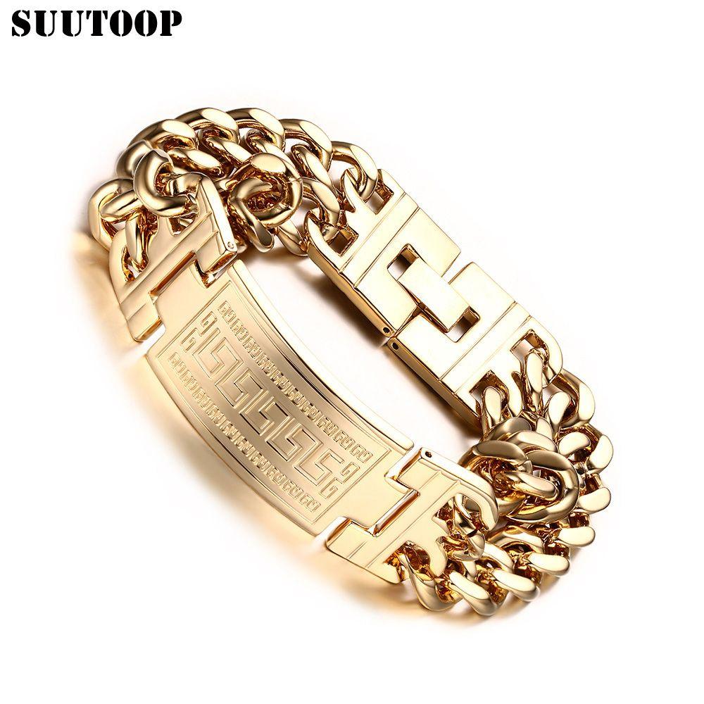 Menus stainless steel bracelets jewelry great wall pattern gold