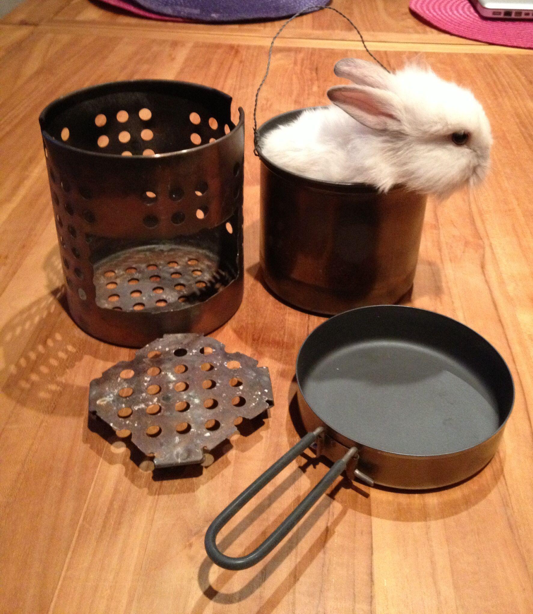 Homemade hobostove, with ikea utensilholder. Titanium pot fits ...