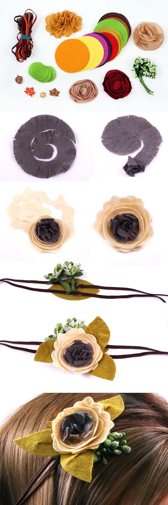 How to Make a Felt Flower Headband- add a new style of felt flower to your handmade headband repertoire!