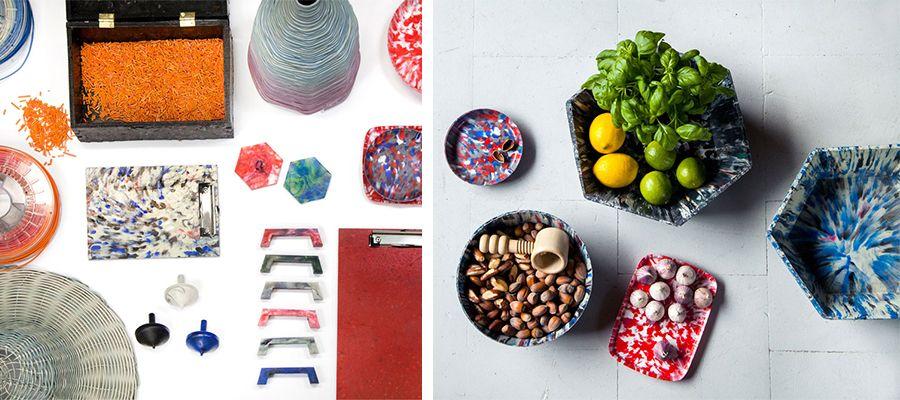 Produtos em plástico, feitos à partir da reciclagem do material obtido com as máquinas de código aberto do designer Dave Hakkens