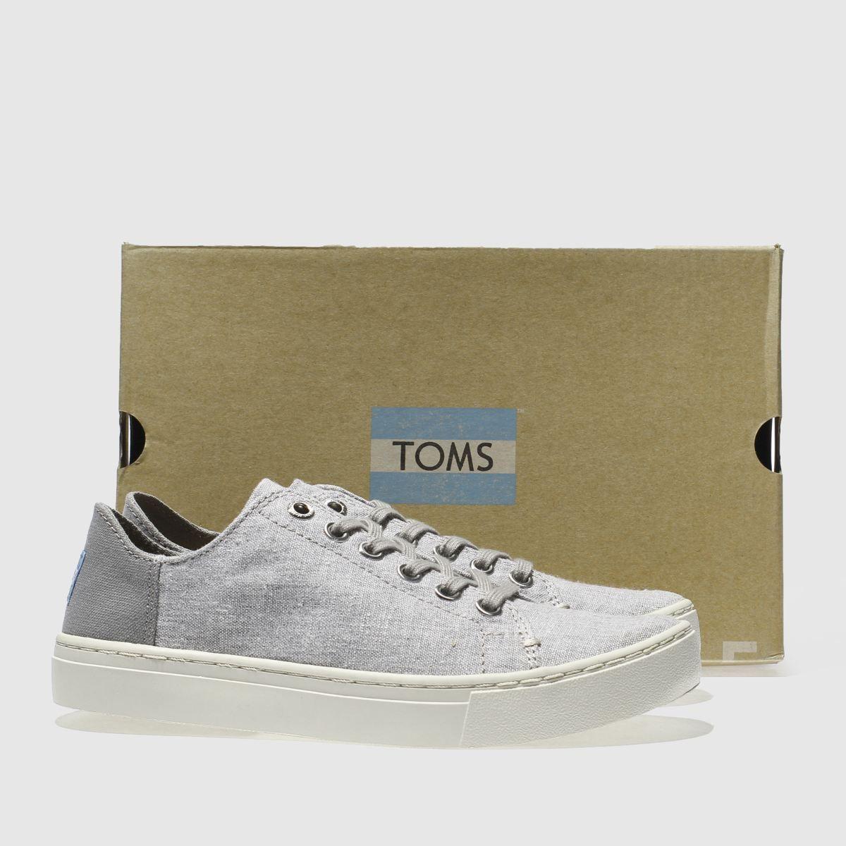 toms light grey lenox slub chambray flat shoes