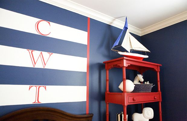 boy's rooms - blue walls white blue striped monogram walls red