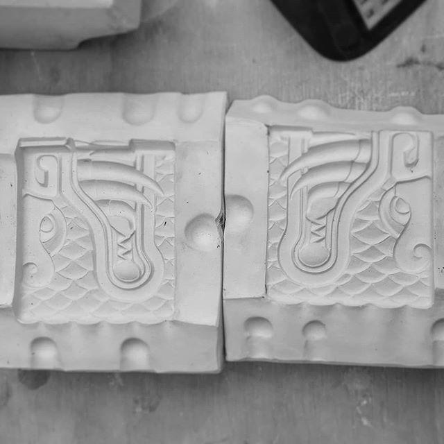 New Aztec dragon addition on the way  #ceramic #mold #dragon