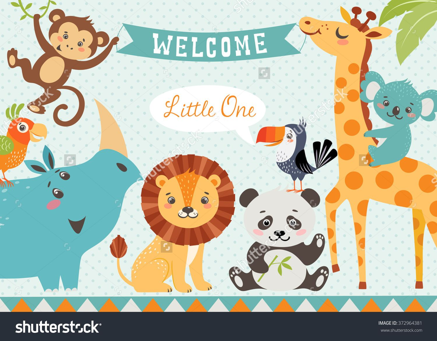 Baby Shower Design With Cute Jungle Animals Vector Is