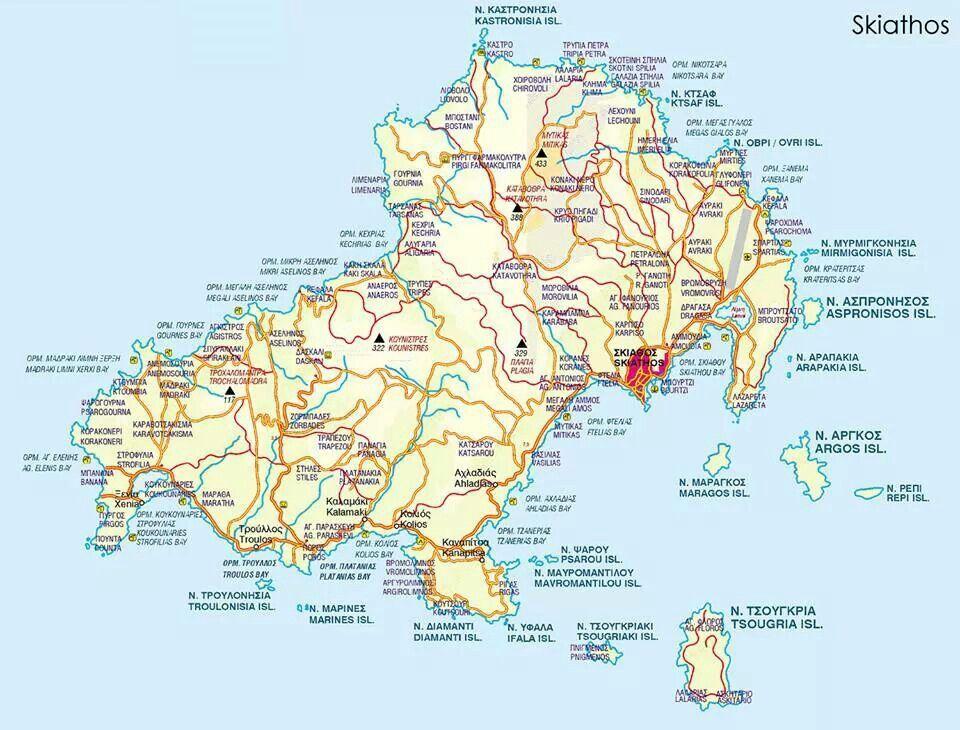Skiathos map | Skiathos island in 2019 | Skiathos, Skiathos ...