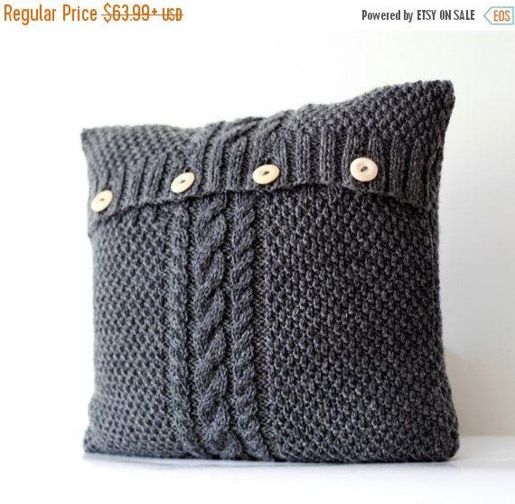 tricot housse de coussin gris c ble tricot cas de. Black Bedroom Furniture Sets. Home Design Ideas