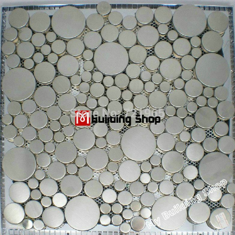 Tile Standard Quality Sheet Directly From China Hole Suppliers Brushed Silver Metal Mosaic Penny Round Metallic Stainless Steel Wall