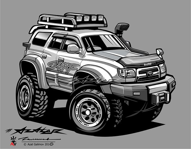 Toyota SURF. Artist-Azater | Джип, Автомобильные наклейки ... (640 x 499 Pixel)