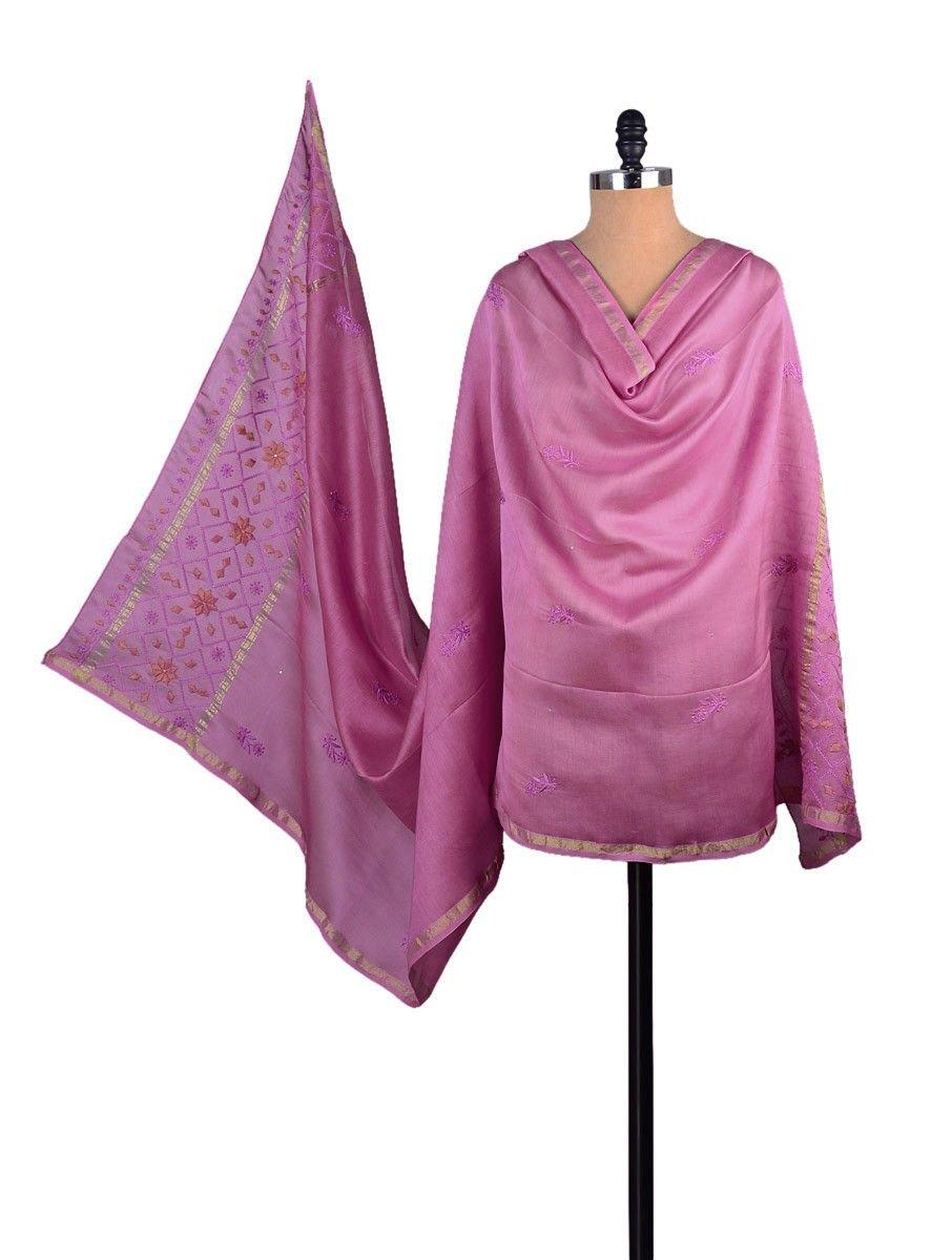 Buy Fuschia Chanderi Phool Patti Chikankari Dupatta Accessories Dupattas Needle Narratives in Embroidery Online at Jaypore.com