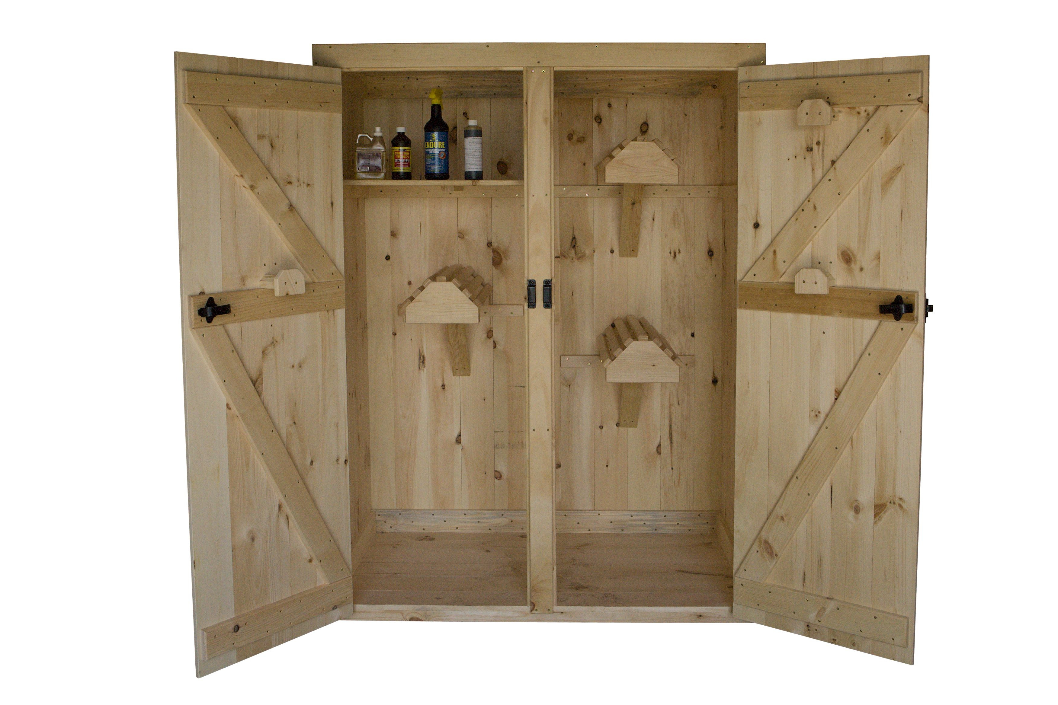 Double Door Pine Cabinet with 3 Saddle Racks | To Make: | Pinterest