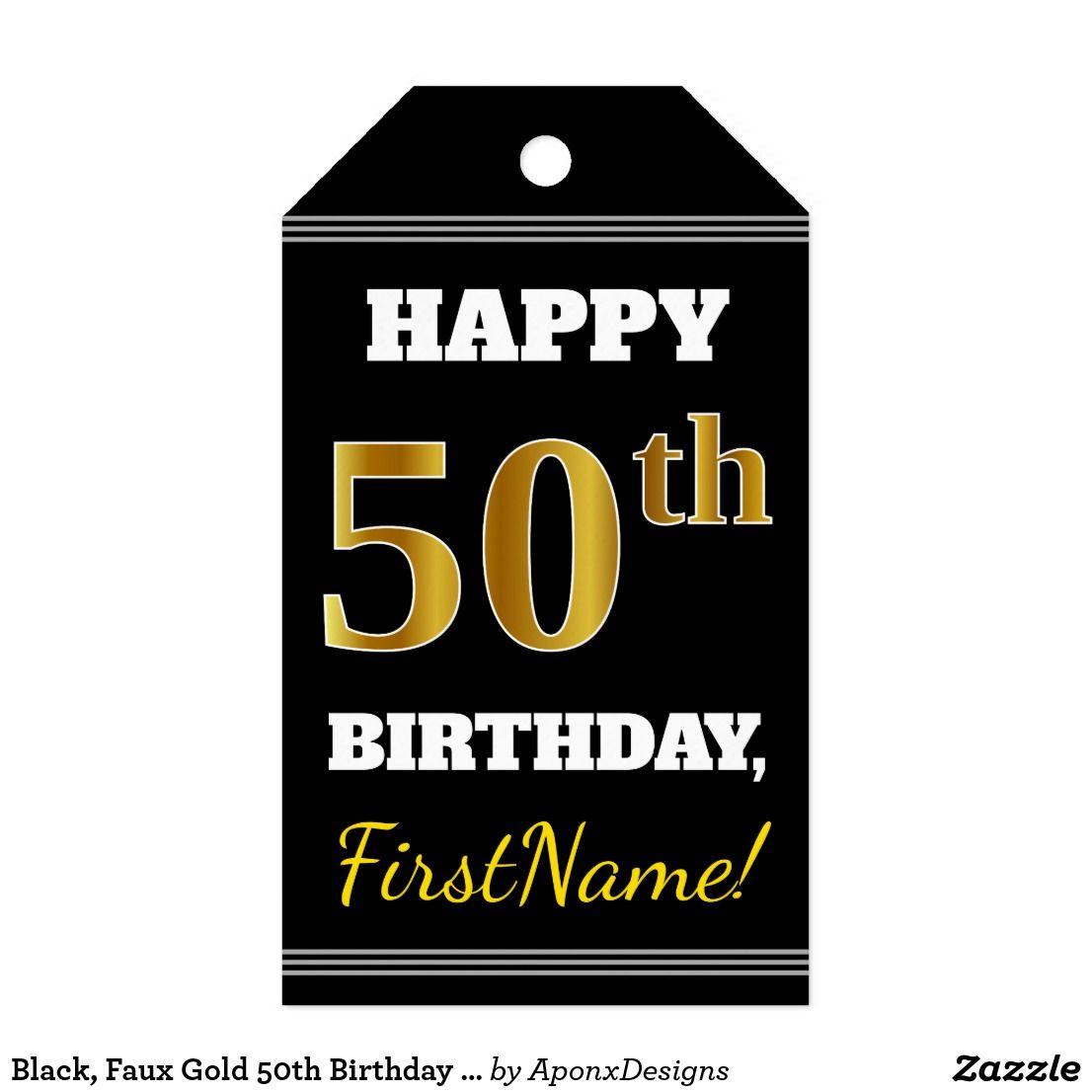 Black Faux Gold 50th Birthday Custom Name Gift Tags