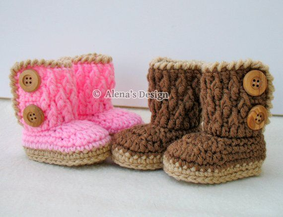 1d095c98f Crocheted Two-Button Baby Booties - Babies Boys Girls Crochet Boots ...
