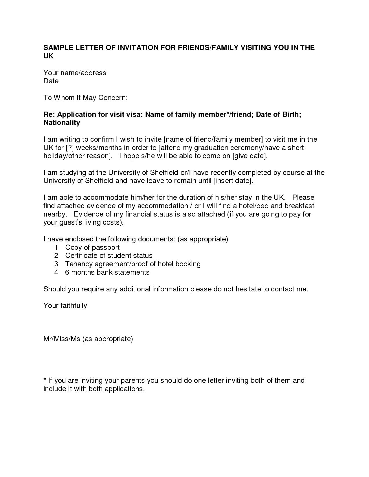 letter of invitation for uk visa