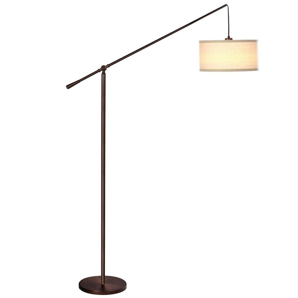 Pendant Floor Lamp Classic Elevated Crane Arc With Linen Textured