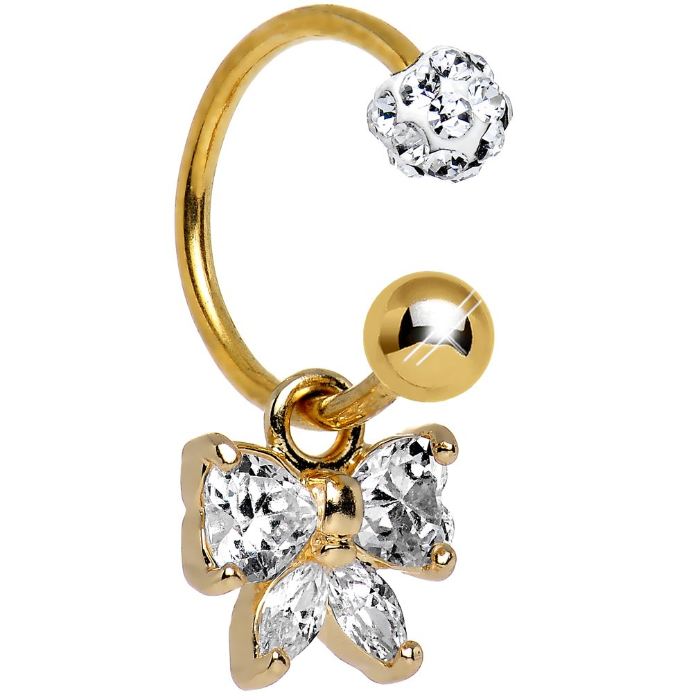 Gold belly piercing jewellery  Clear CZ Gold Anodized Titanium Bewitching Bow Dangle Belly Ring