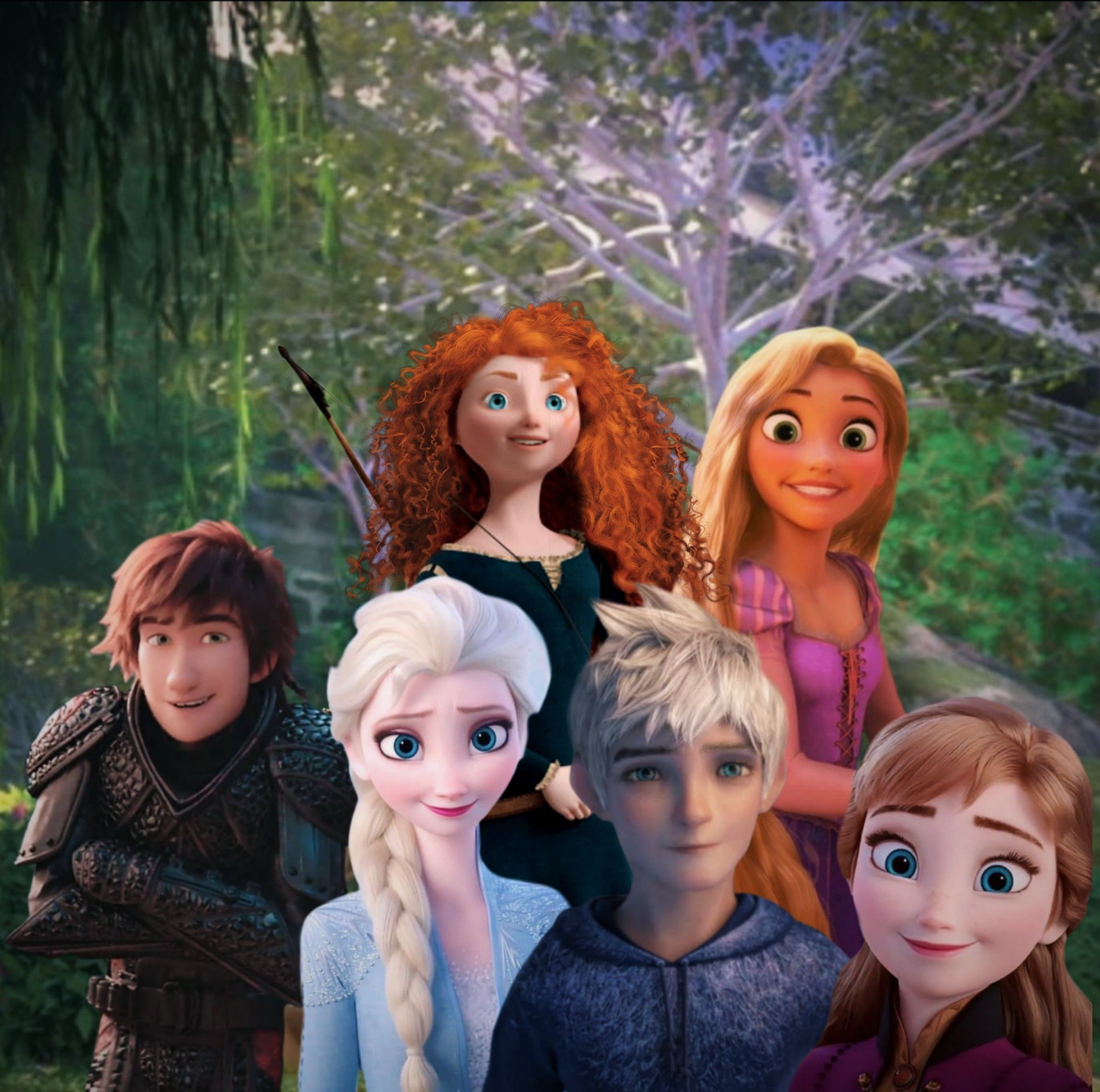 Rise Of The Brave Tangled Frozen Dragons Jack Frost Merida Rapunzel Elsa Anna Hiccup In 2020 Disney Jack Frost Disney Princess Wallpaper
