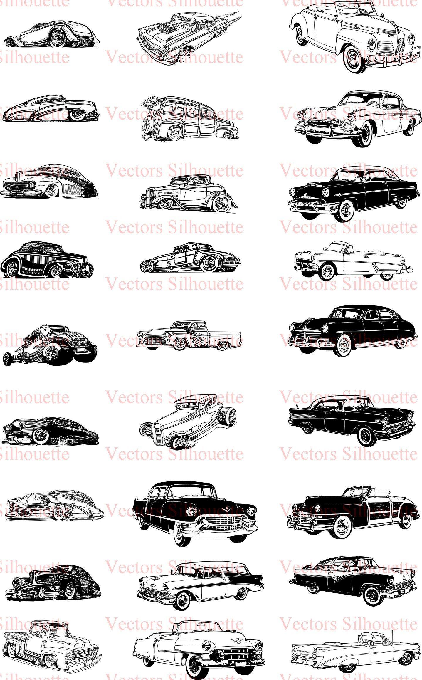 Various Vintage Car Silhouette Vectors SVG, svg, dxf, Cricut, Silhouette Cut File, Instant Download
