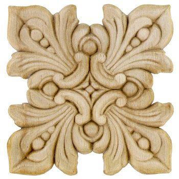 Large Serrated Square Wood Applique