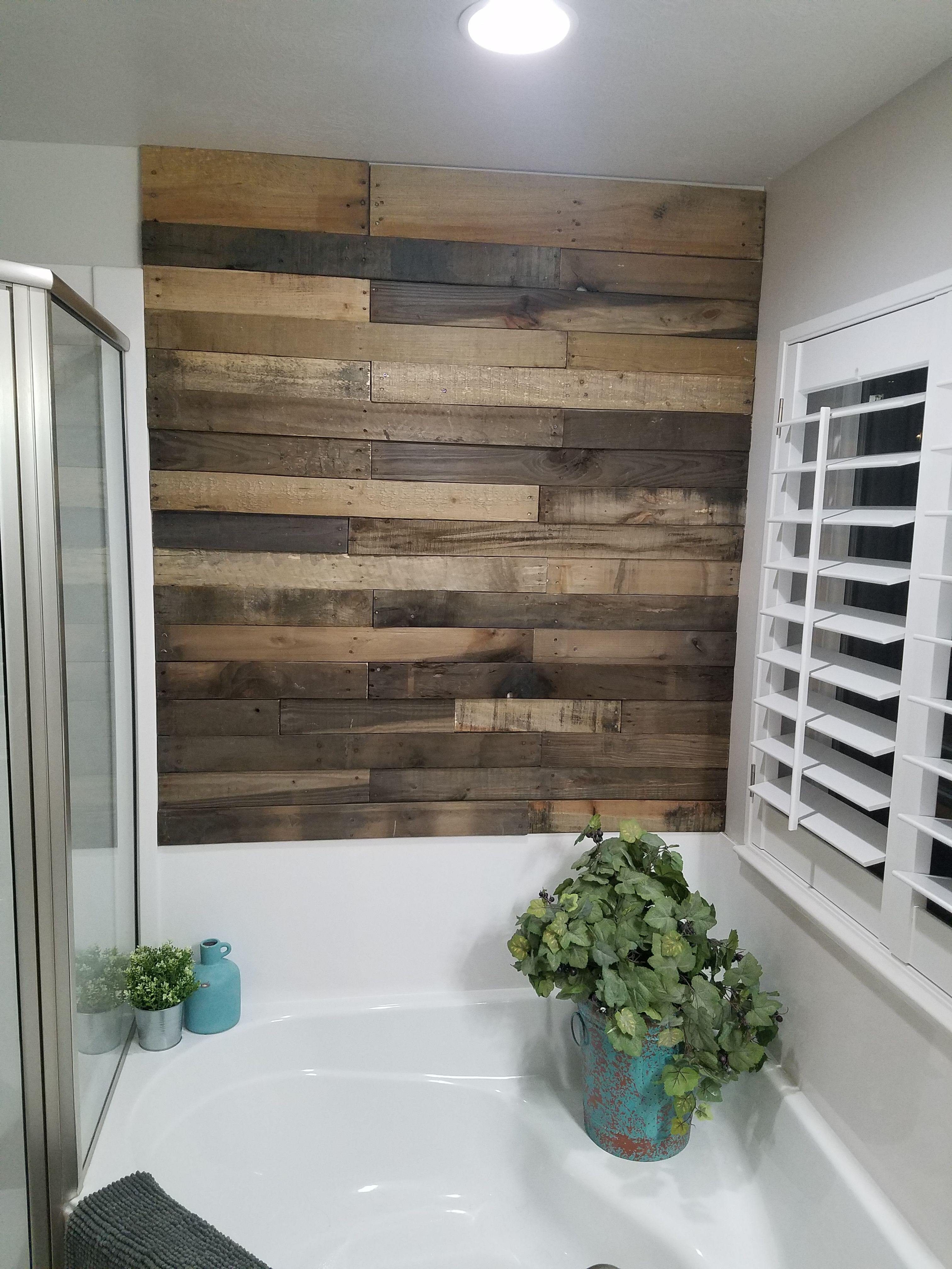 Pre-Stained pallet wood wall | Wood accent wall, Wood ...