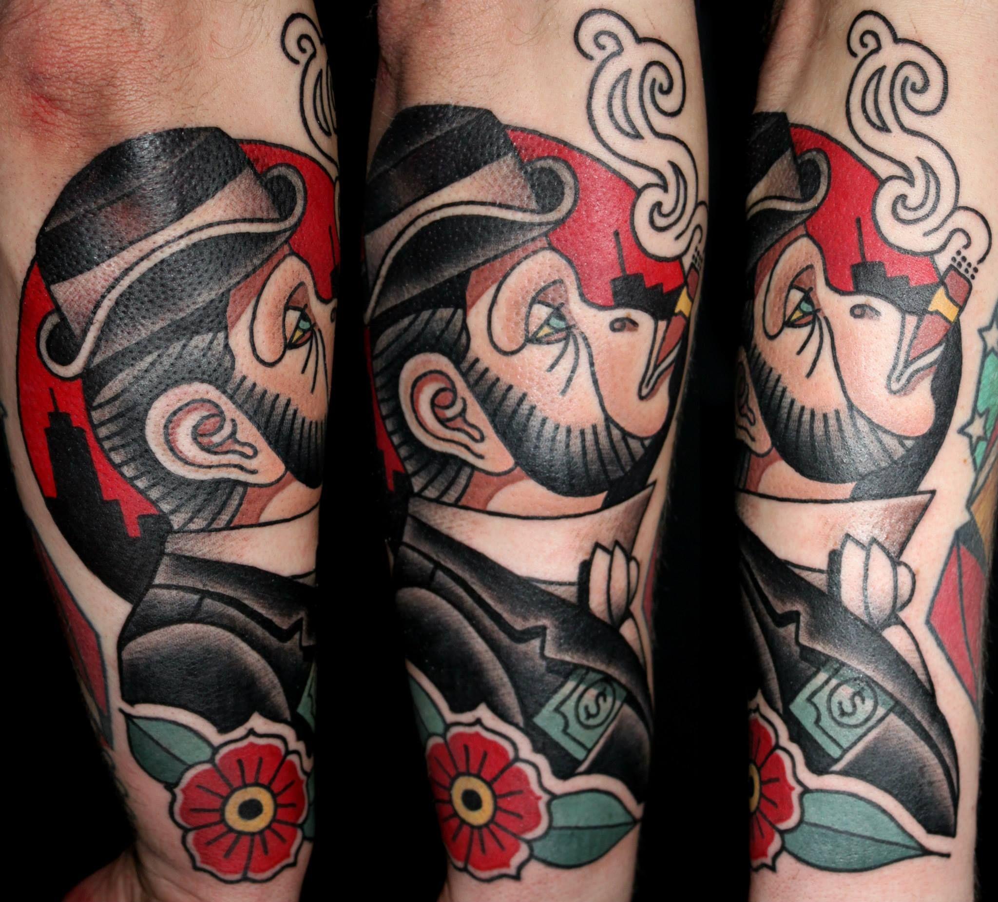 tattoo traditional monkey business   Old School Tatts   Pinterest ... - Tattoo Sleeve Frau